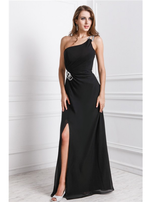 Intuitive Impact Sheath Style One Shoulder Long Beading Dresses