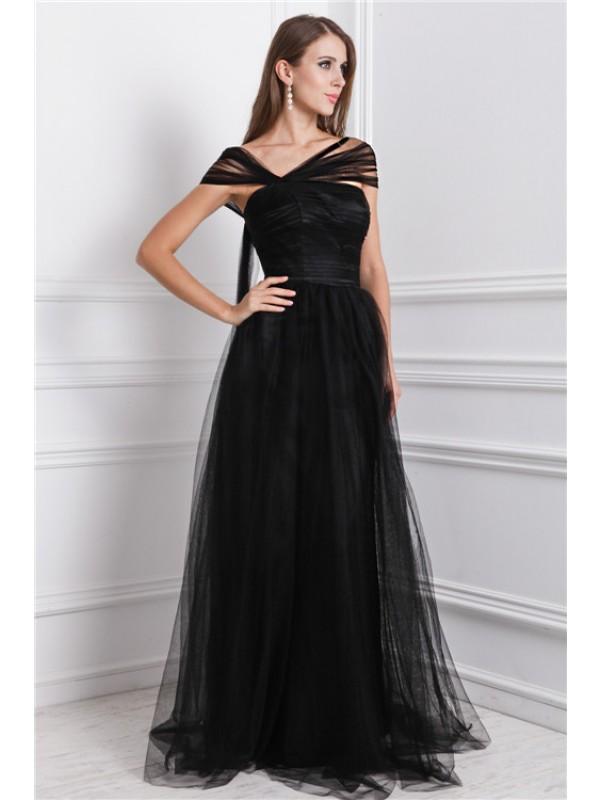 Pleased to be Me Princess Style Bateau Ruffles Long Net Dresses