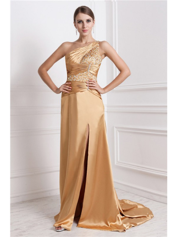 Aesthetic Honesty Princess Style One-Shoulder Long Beading Elastic Woven Satin Dresses