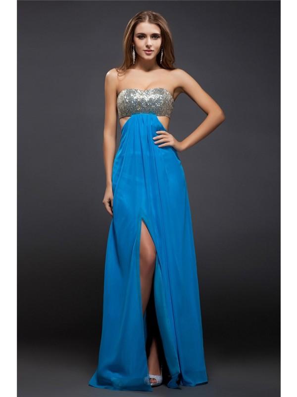Pleasant Emphasis Sheath Style Strapless Sequin Lace Long Chiffon Dresses