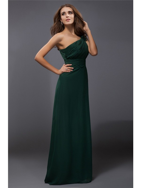 Time to Shine Sheath Style One-Shoulder Ruffles Long Chiffon Dresses