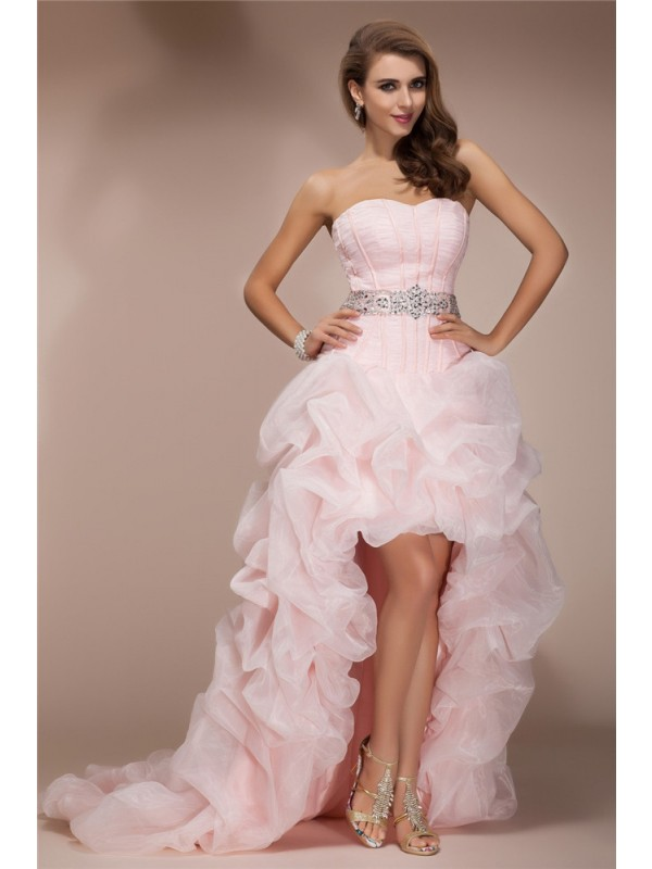 Voiced Vivacity Princess Style Sweetheart High Low Beading Organza Dresses