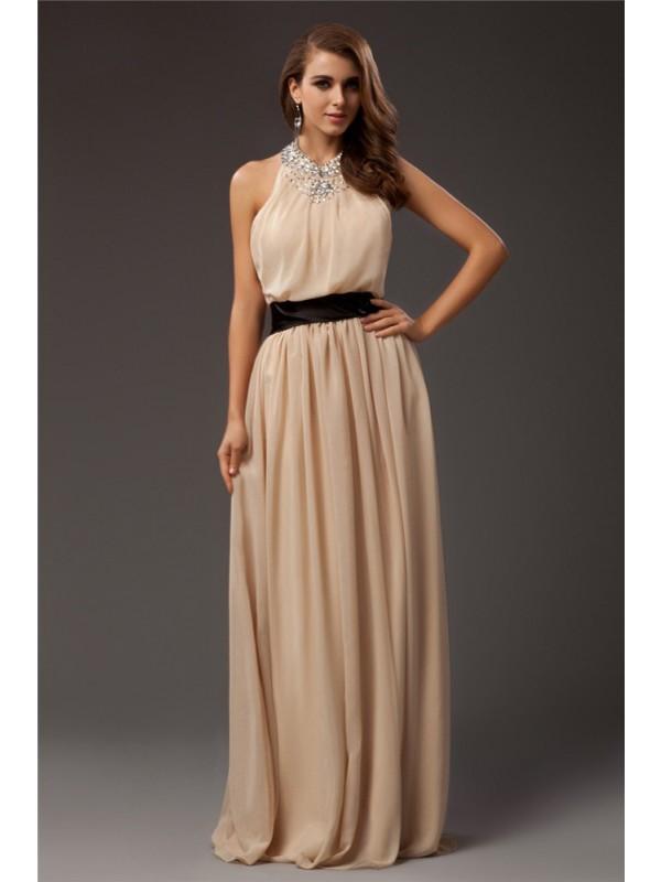Comfortably Chic Sheath Style Jewel Beading Long Chiffon Dresses