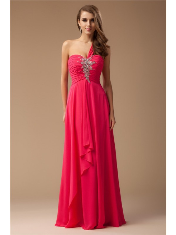 Festive Self Sheath Style One-Shoulder Beading Long Chiffon Dresses