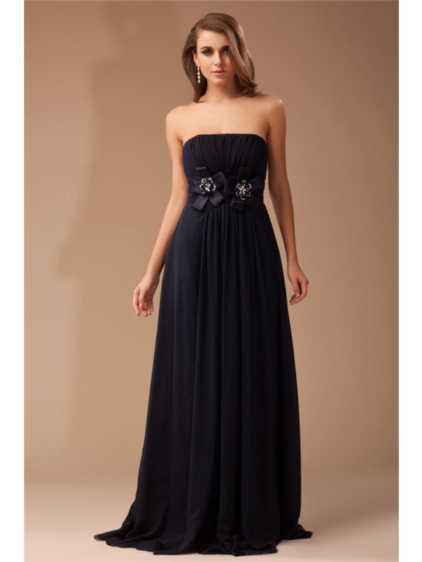 Cordially Delighted Sheath Style Strapless Ruffles Long Beading Chiffon Elastic Woven Satin Dresses