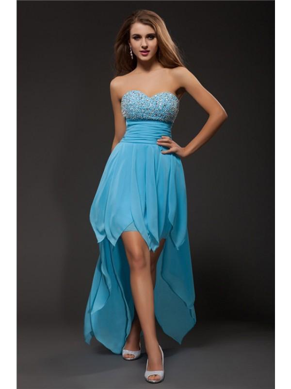 Vibrant Stylist Princess Style Sweetheart Beading High Low Chiffon Cocktail Dresses
