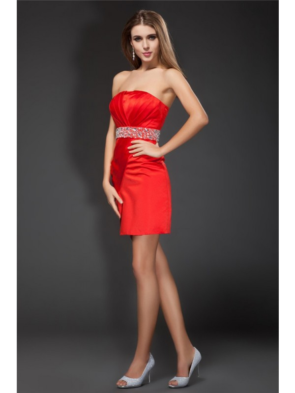Yours Truly Sheath Style Strapless Beading Short Satin Cocktail Dresses