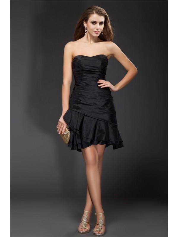 Just My Style Princess Style Strapless Ruffles Short Taffeta Cocktail Dresses