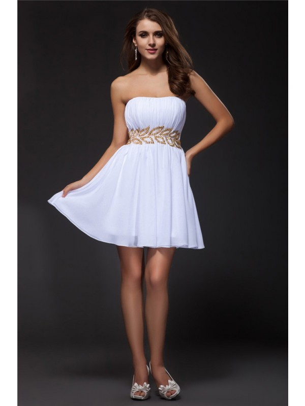 Fresh Picks Princess Style Strapless Beading Short Chiffon Cocktail Dresses