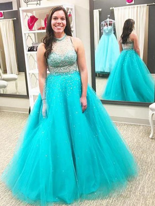 Festive Self Ball Gown High Neck With Beading Floor-Length Tulle Plus Size Dresses