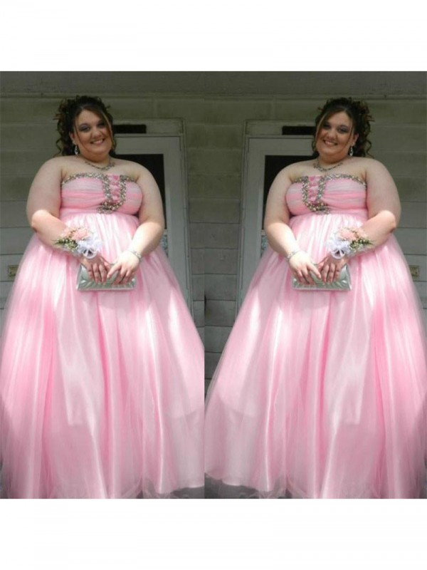 Pleased to be Me Princess Style Strapless With Beading Floor-Length Satin Plus Size Dresses
