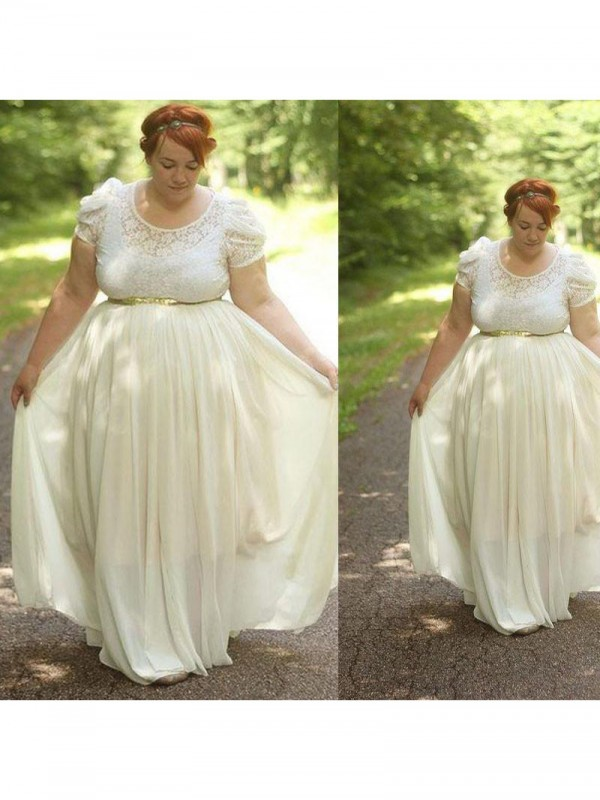 Confident Option Princess Style Scoop With Lace Floor-Length Chiffon Plus Size Dresses