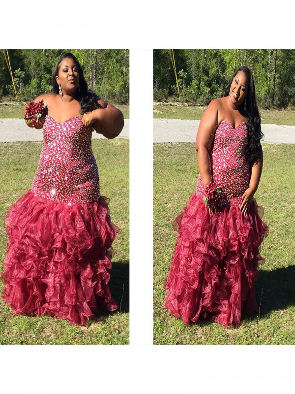 Fresh Picks Mermaid Style Sweetheart With Beading Floor-Length Organza Plus Size Dresses