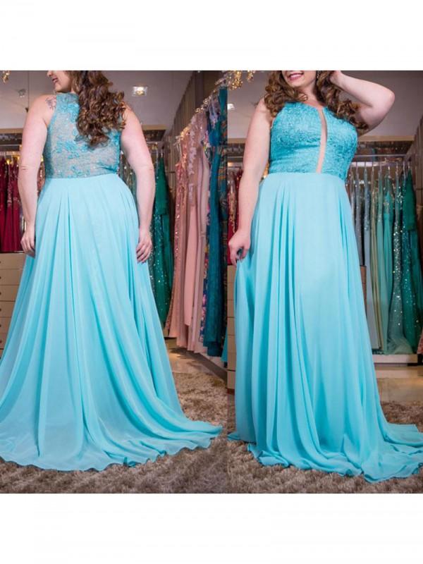 Romantic Vibes Princess Style Scoop With Applique Sweep/Brush Train Chiffon Plus Size Dresses