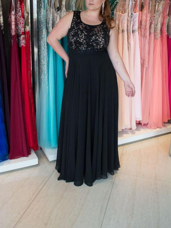 Embracing Grace Princess Style Straps With Lace Floor-Length Chiffon Plus Size Dresses