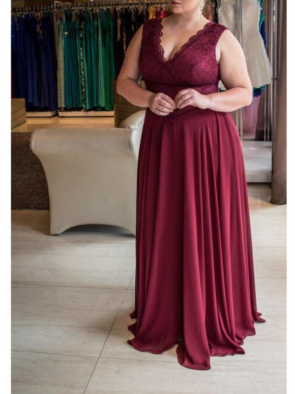 Befits Your Brilliance Princess Style V-neck Lace Sweep/Brush Train Chiffon Plus Size Dresses