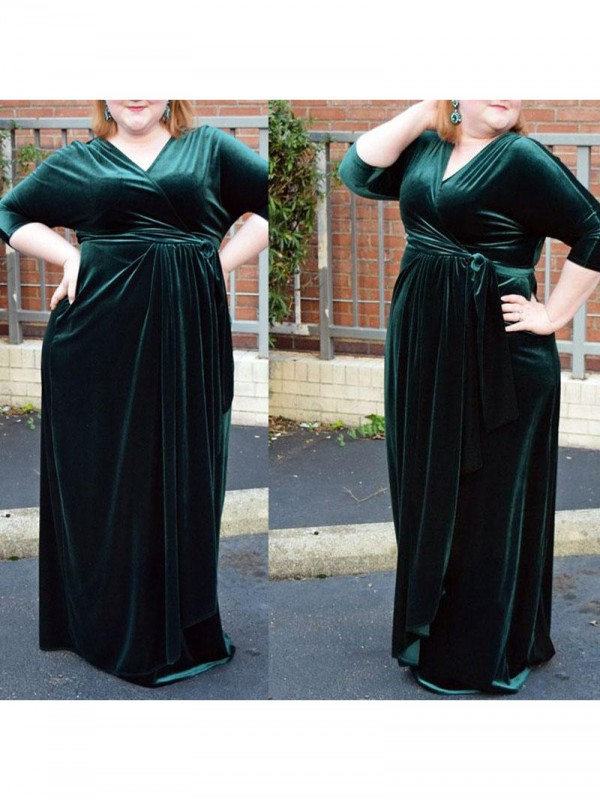 Eye-Catching Charm Sheath Style V-neck With Ruched Floor-Length Velvet Plus Size Dresses