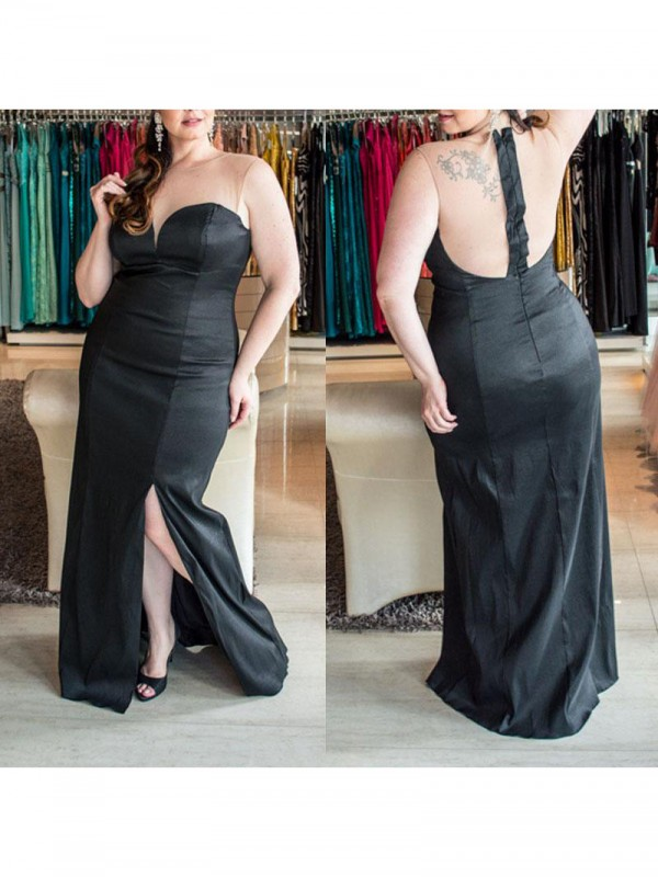 Absolute Lovely Sheath Style Sweetheart With Ruched Floor-Length Elastic Woven Satin Plus Size Dresses