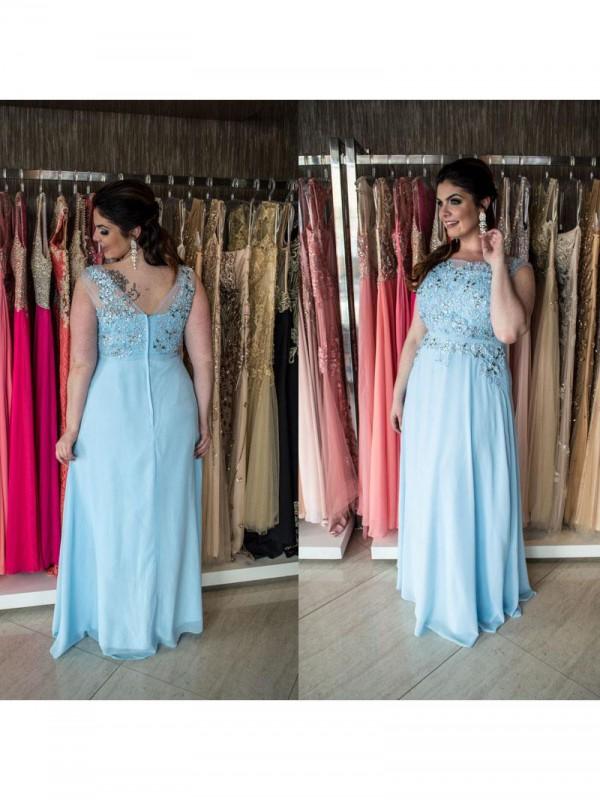 Aesthetic Honesty Princess Style Bateau With Beading Floor-Length Chiffon Plus Size Dresses