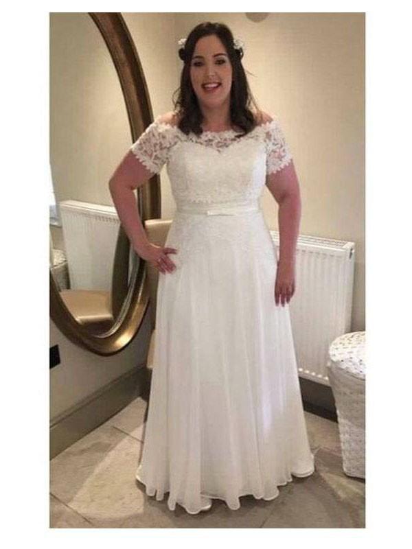 Chic Chic London Princess Style Off-the-Shoulder With Sash/Ribbon/Belt Floor-Length Chiffon Plus Size Dresses