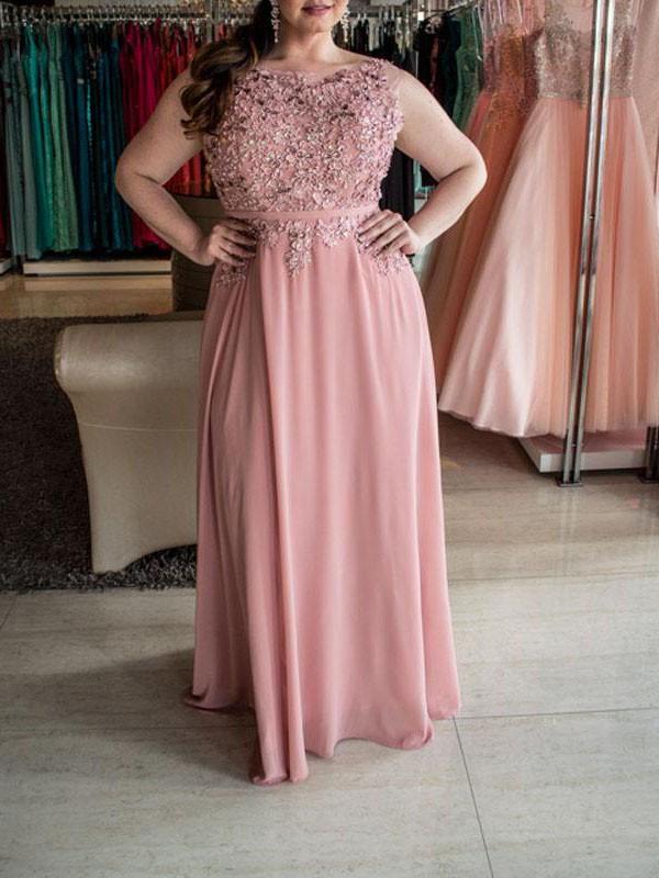 Treasured Reveries Princess Style Bateau With Beading Floor-Length Chiffon Plus Size Dresses
