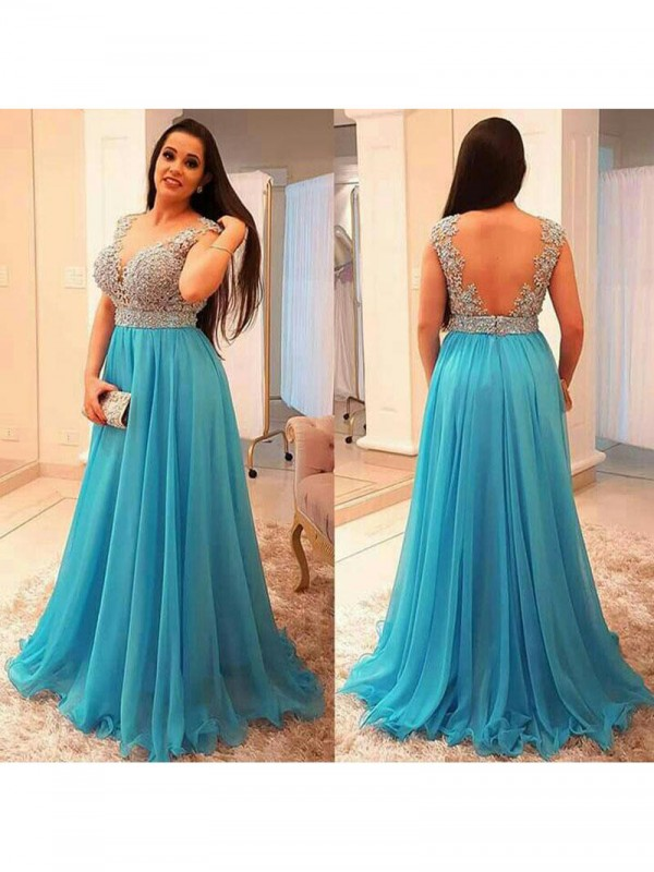 Limitless Looks Princess Style V-neck With Beading Sweep/Brush Train Chiffon Plus Size Dresses