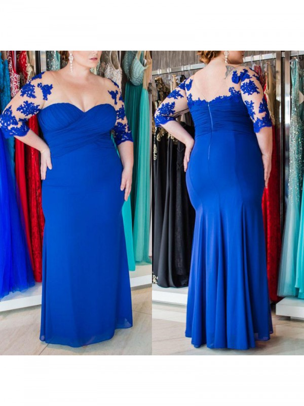Comfortably Chic Sheath Style Sweetheart With Applique Floor-Length Chiffon Plus Size Dresses