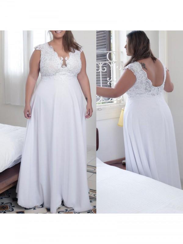 Creative Courage Princess Style V-neck With Applique Floor-Length Chiffon Plus Size Dresses