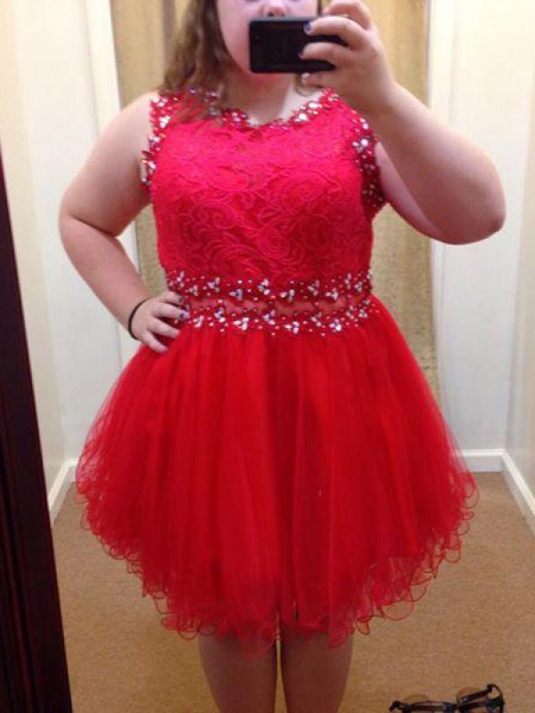 Cordially Delighted Princess Style Scoop With Beading Short/Mini Organza Plus Size Dresses