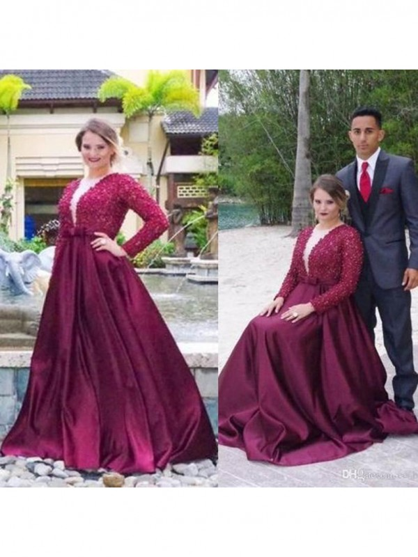 Festive Self Princess Style V-neck With Beading Sweep/Brush Train Satin Plus Size Dresses