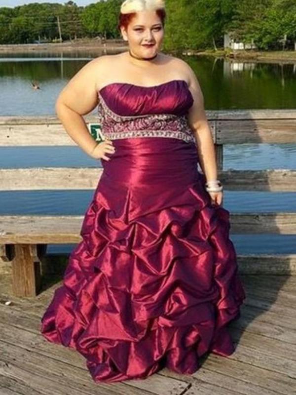 Visual Moment Princess Style Strapless With Beading Floor-Length Taffeta Plus Size Dresses