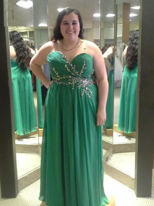 Cheerful Spirit Princess Style Sweetheart With Beading Floor-Length Chiffon Plus Size Dresses