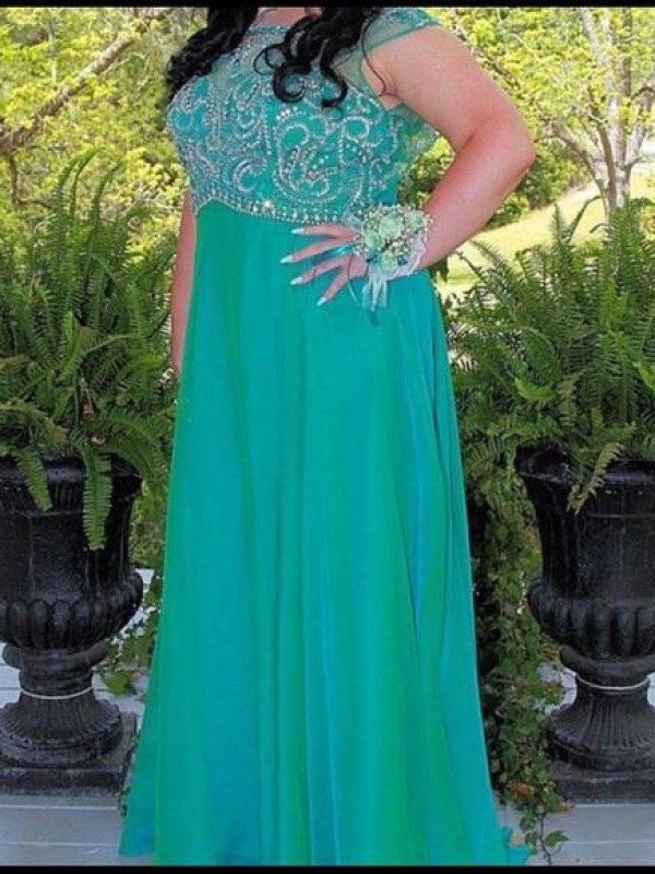 Yours Truly Princess Style Scoop With Beading Floor-Length Chiffon Plus Size Dresses