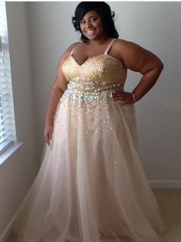 Dashing Darling Princess Style Spaghetti Straps With Beading Floor-Length Tulle Plus Size Dresses