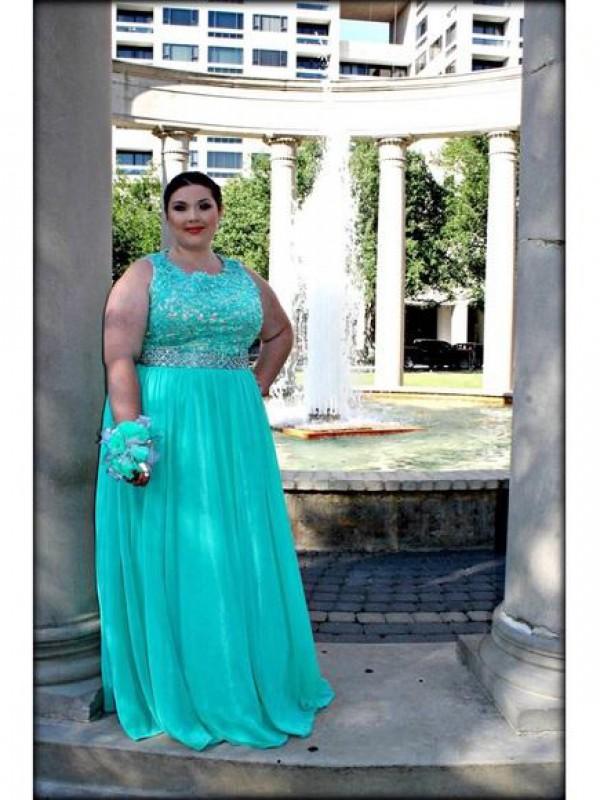 Glitz the Spot Princess Style Scoop With Applique Floor-Length Chiffon Plus Size Dresses