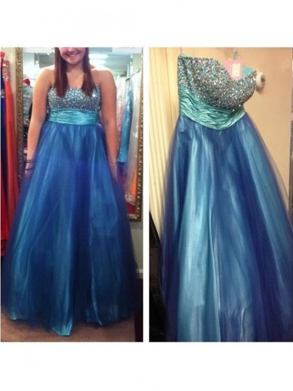 Eye-Catching Charm Princess Style Sweetheart With Beading Floor-Length Tulle Plus Size Dresses