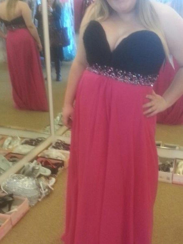 Comfortably Chic Princess Style Sweetheart With Beading Floor-Length Chiffon Plus Size Dresses