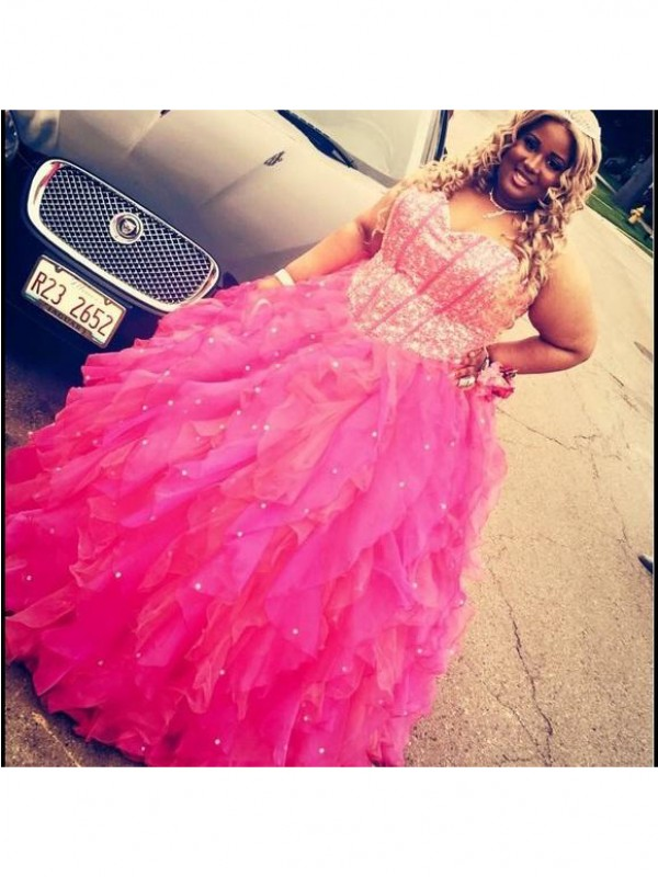 Styled to Smile Ball Gown Sweetheart With Beading Floor-Length Organza Plus Size Dresses