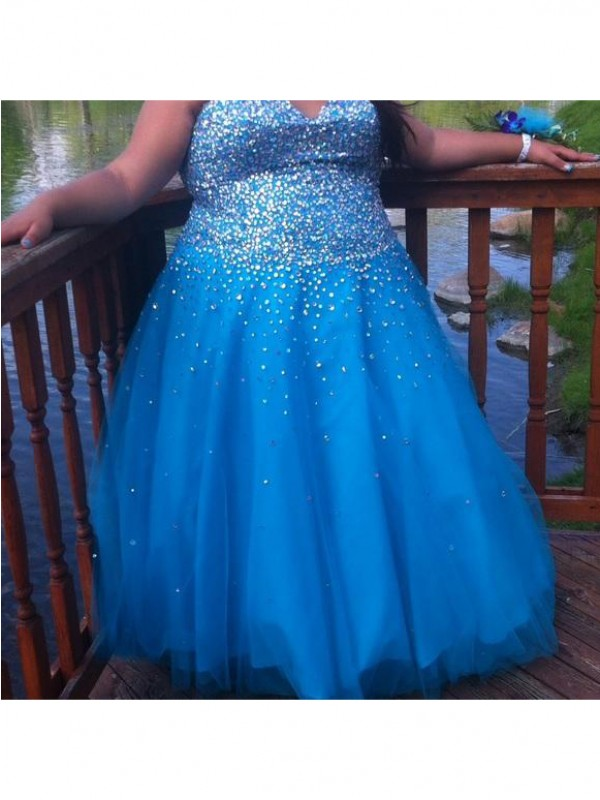 Fabulous Fit Ball Gown Sweetheart With Beading Floor-Length Tulle Plus Size Dresses