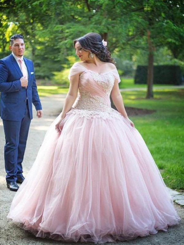 Memorable Magic Ball Gown Off-the-Shoulder With Applique Floor-Length Tulle Plus Size Dresses