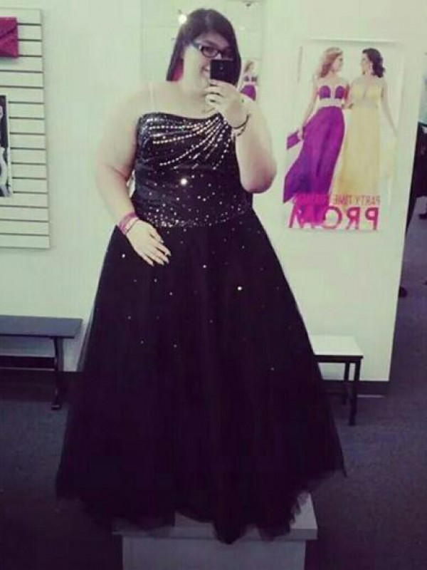 Stylish Refresh Ball Gown One-Shoulder With Beading Floor-Length Tulle Plus Size Dresses