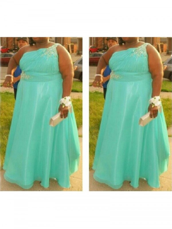 Defined Shine Princess Style One-Shoulder With Beading Floor-Length Chiffon Plus Size Dresses