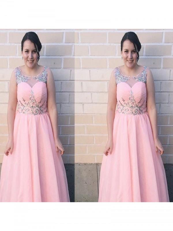 Beautiful You Princess Style Sheer Neck With Beading Floor-Length Chiffon Plus Size Dresses