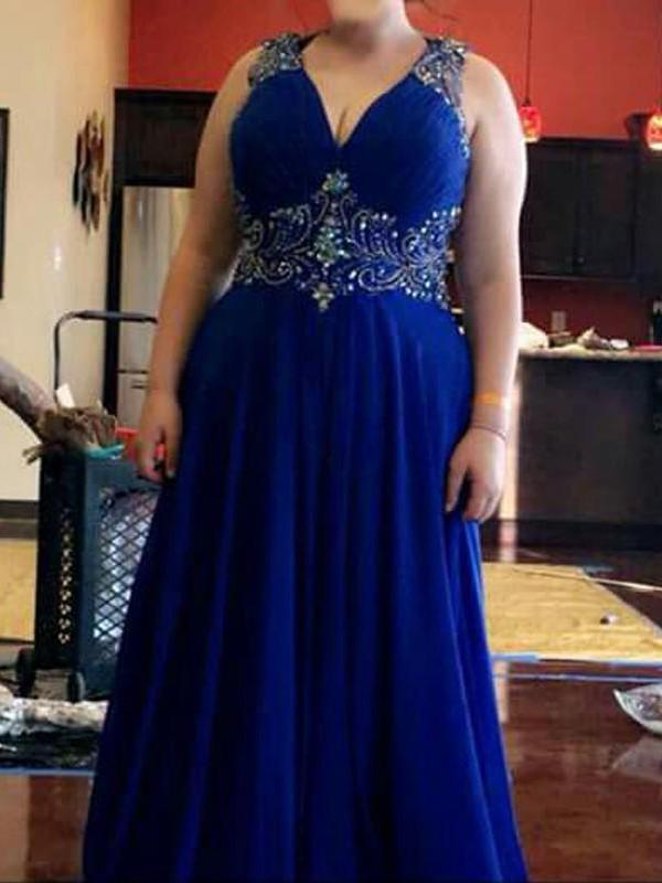 Dashing Darling Princess Style V-neck With Beading Floor-Length Chiffon Plus Size Dresses