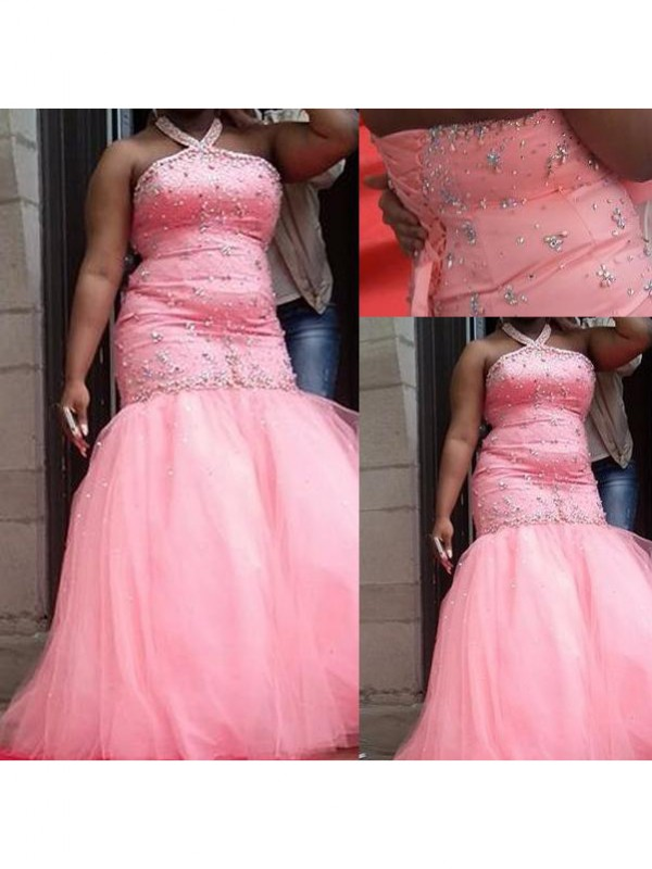 Glitz the Spot Mermaid Style Halter With Beading Floor-Length Tulle Plus Size Dresses