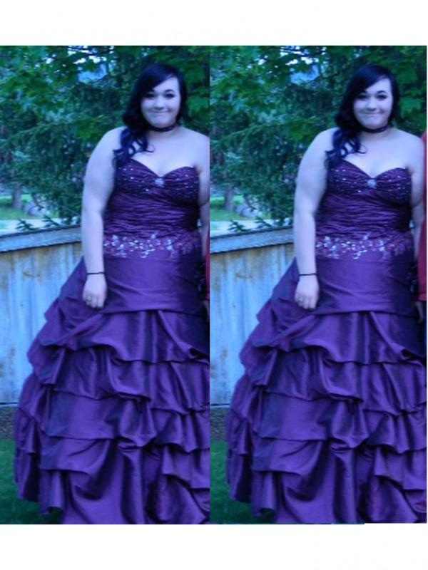 Modern Mood Ball Gown Sweetheart With Beading Floor-Length Taffeta Plus Size Dresses
