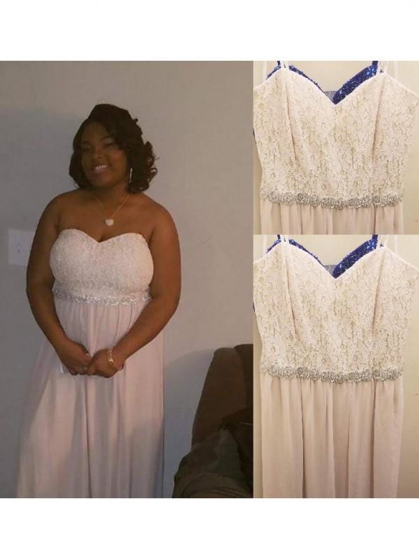 Eye-Catching Charm Princess Style Sweetheart With Beading Floor-Length Chiffon Plus Size Dresses
