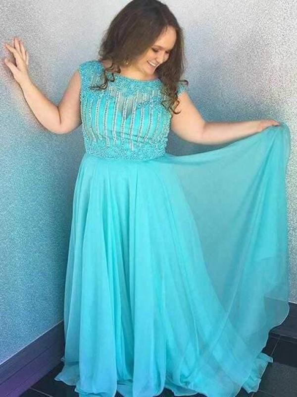 Aesthetic Honesty Princess Style Bateau With Beading Sweep/Brush Train Chiffon Plus Size Dresses