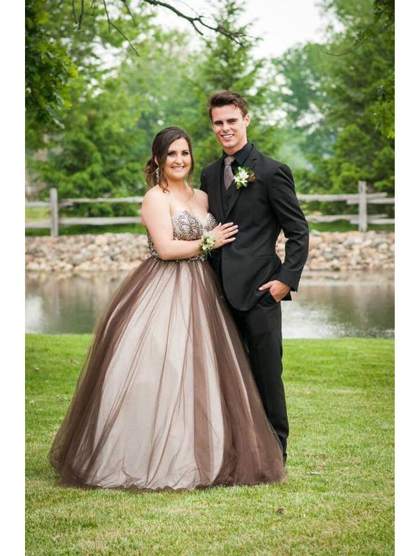 Voiced Vivacity Ball Gown Sweetheart With Beading Floor-Length Tulle Plus Size Dresses