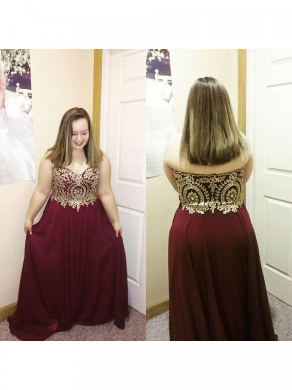 Automatic Classic Princess Style Sweetheart With Applique Floor-Length Chiffon Plus Size Dresses